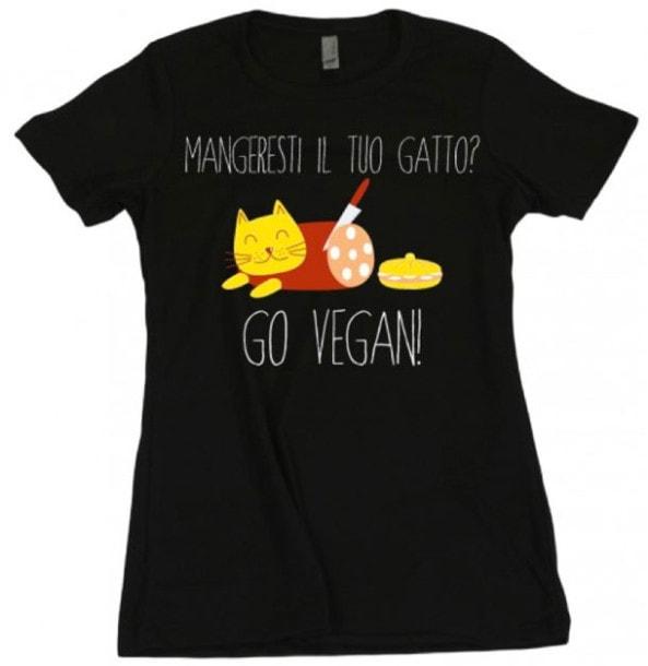 Maglietta mangeresti il tuo gatto - go vegan