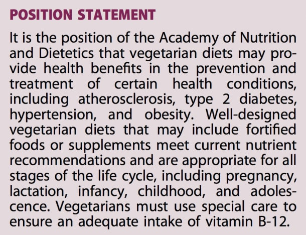 Position of the Academy of Nutrition and Dietetics: Vegetarian Diets