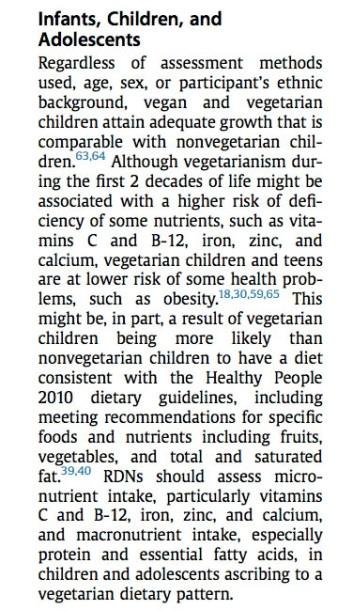Posizione su diete vegetariane 2015 - bambini
